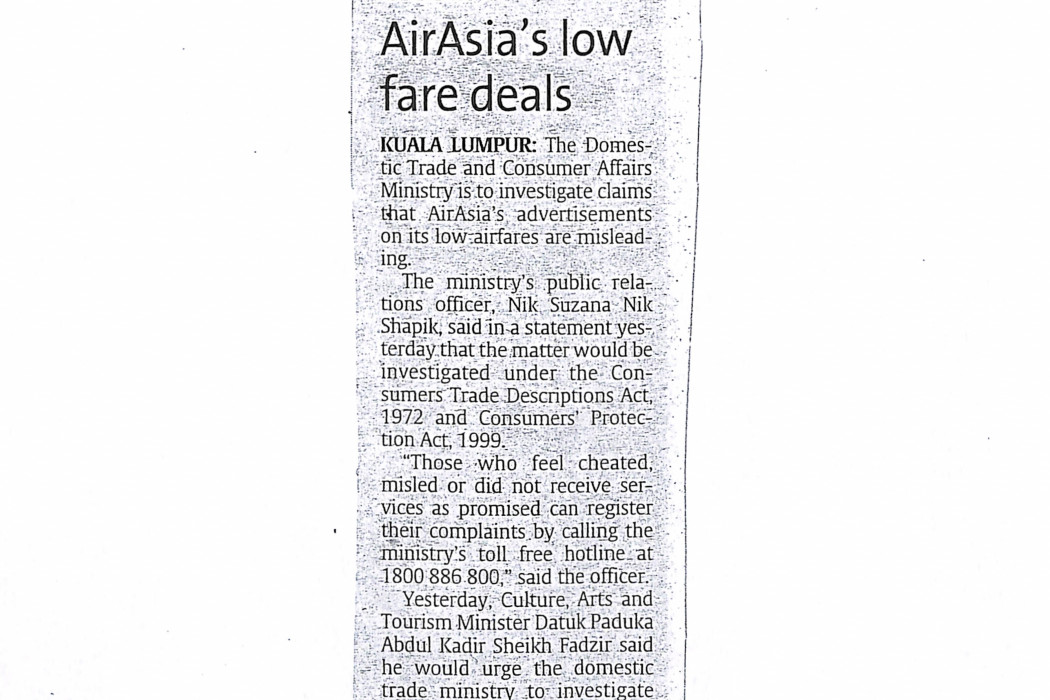 Ministry to check airasia's low fare deals