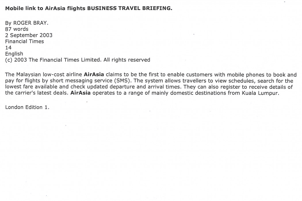 Mobile link to airasia flights BUSINESS TRAVEL BRIEFING