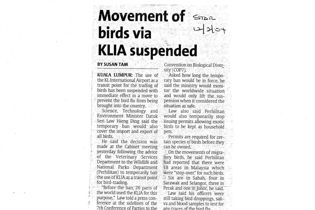 Movement of birds via KLIA suspended