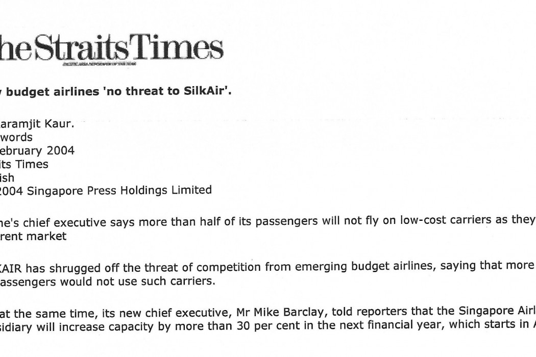 New budget airlines 'no threat to SilkAir' - 01