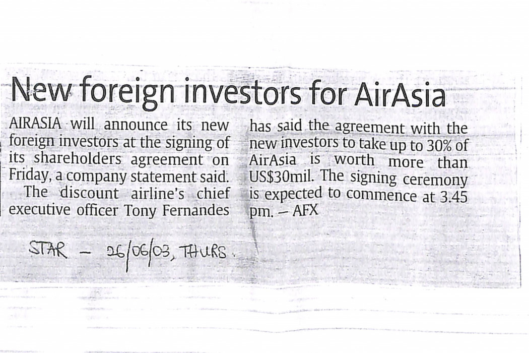 New foreign investors for airasia
