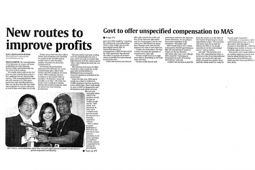 New routes to improve profits; Govt to offer unspecified compensation to MAS
