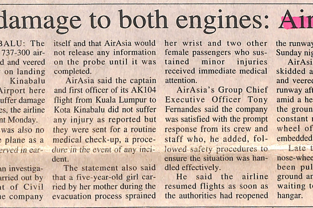 No damage to both engines airasia