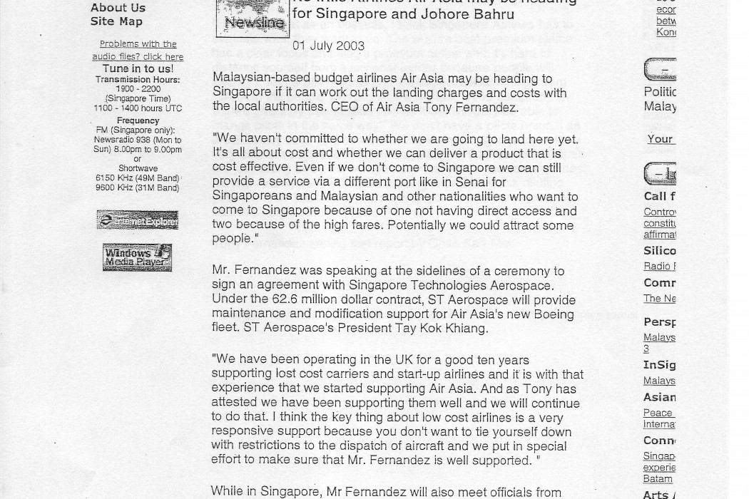 No frills Airlines Air Asia may be heading for Singapore and Johore Bahru (1)