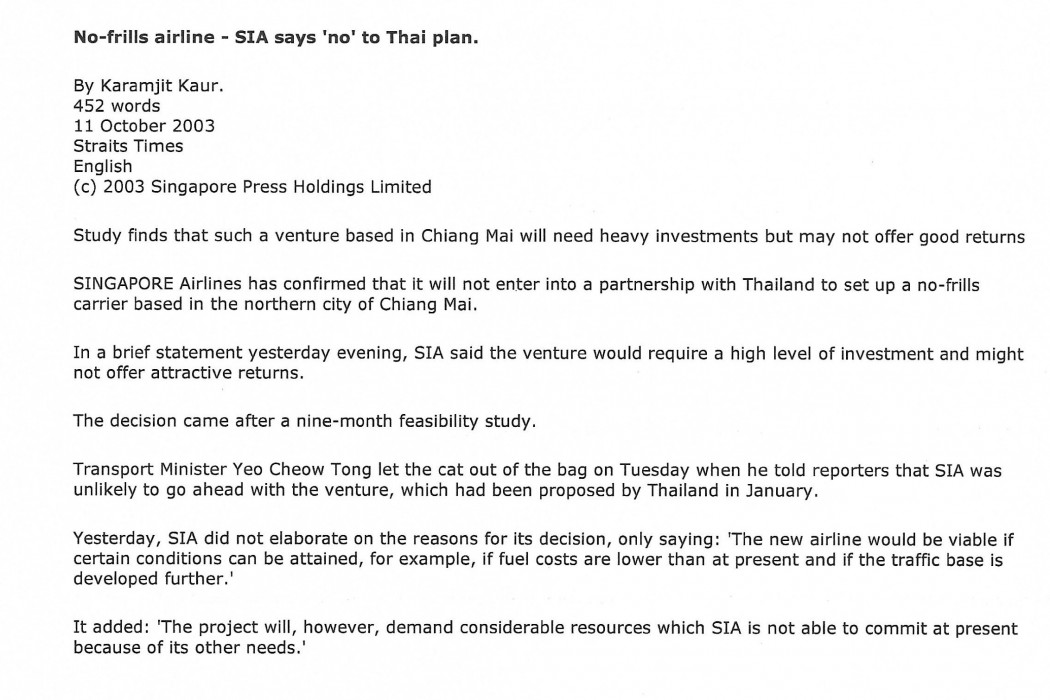 No-frills airline - SIA says 'no' to Thai plan (1)