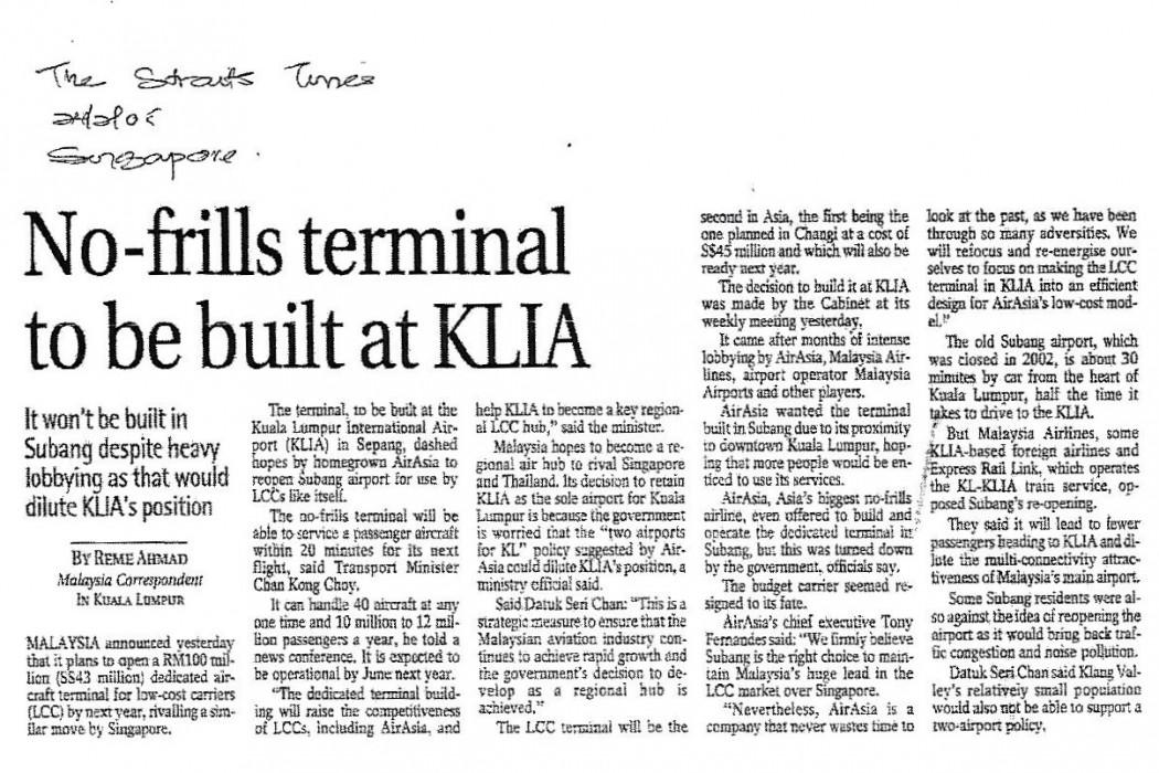 No-frills terminal to be built at KLIA