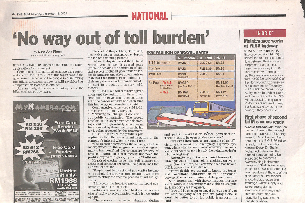 'No way out of toll burden'