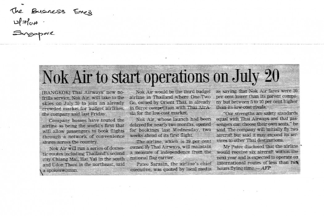 Nok Air to start operations on July 20