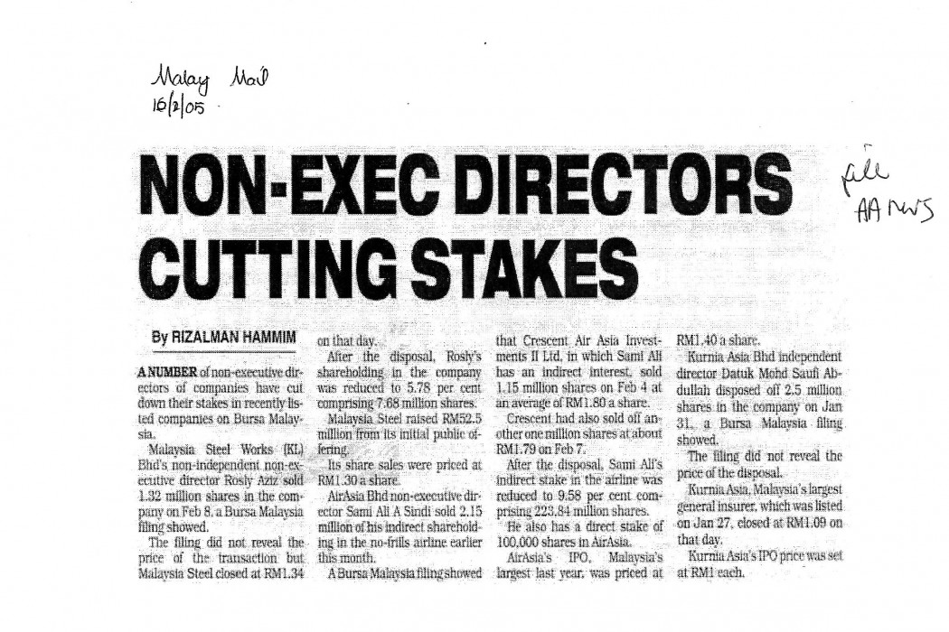 Non-exec directors cutting stakes