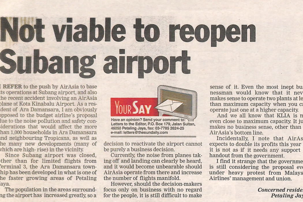 Not viable to reopen Subang airport