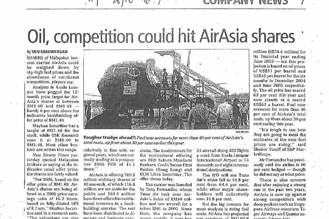 Oil, competition could hit airasia shares