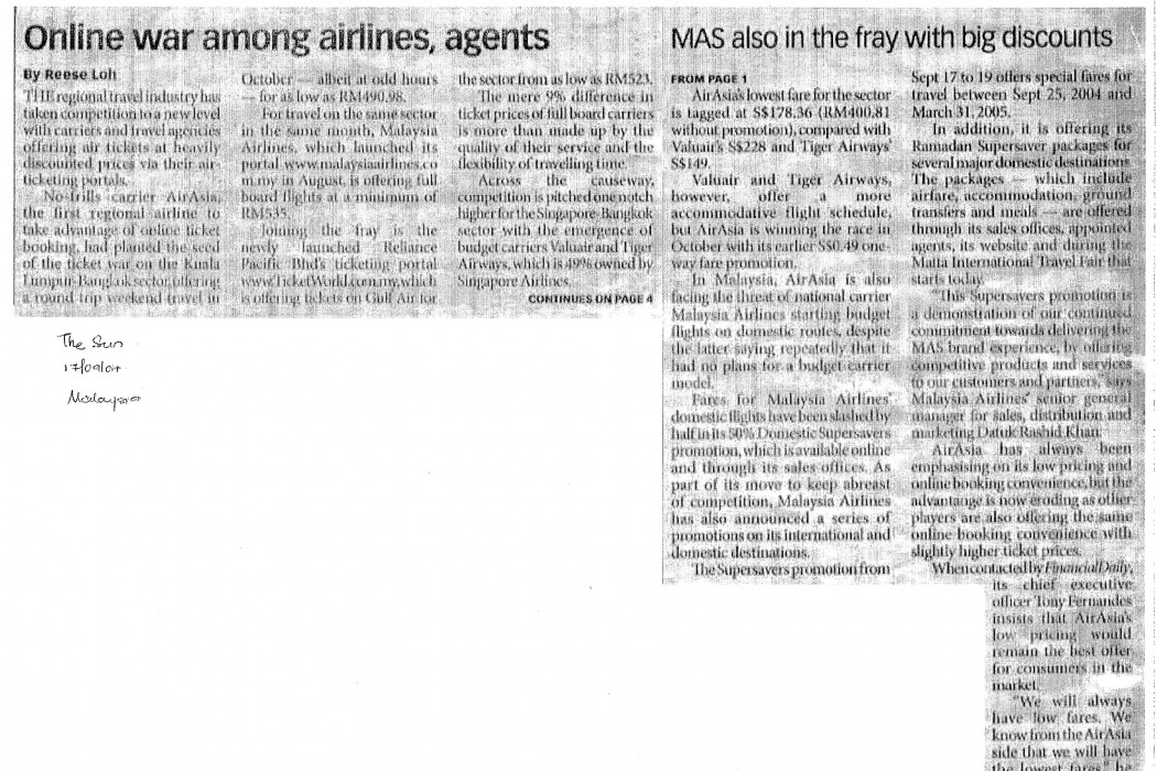 Online war among airlines, agents