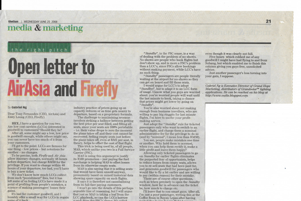 Open letter to airasia and firefly