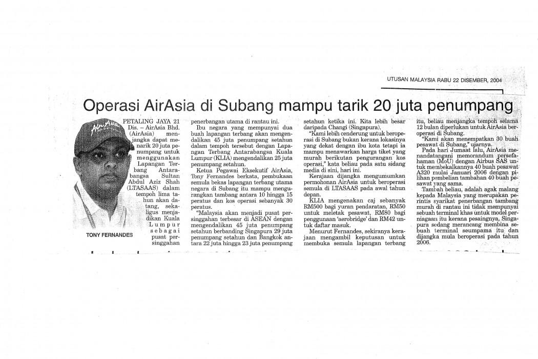 Operasi airasia di Subang mampu tarik 20 juta pelancong