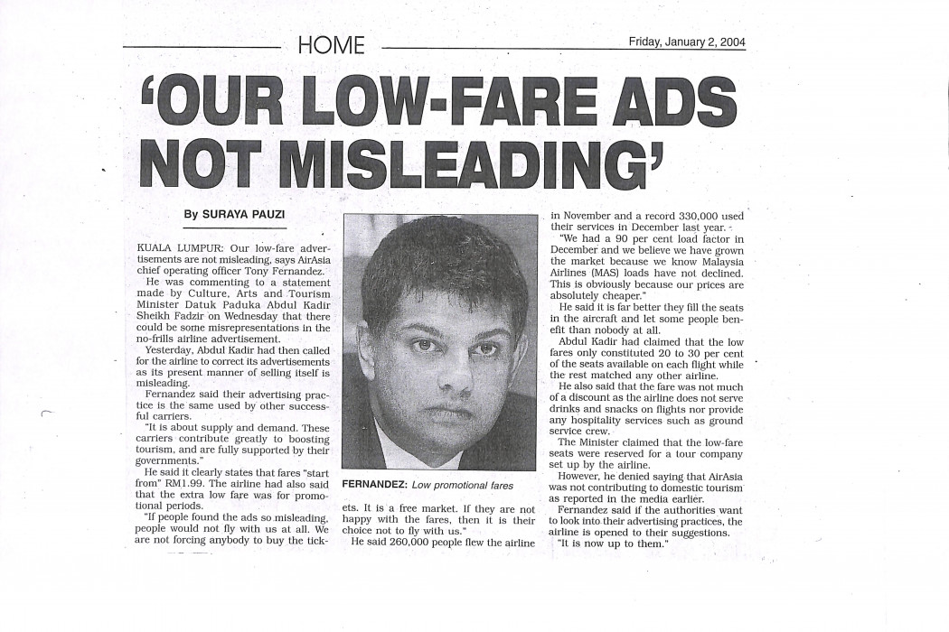 'Our low-fare ads not misleading'