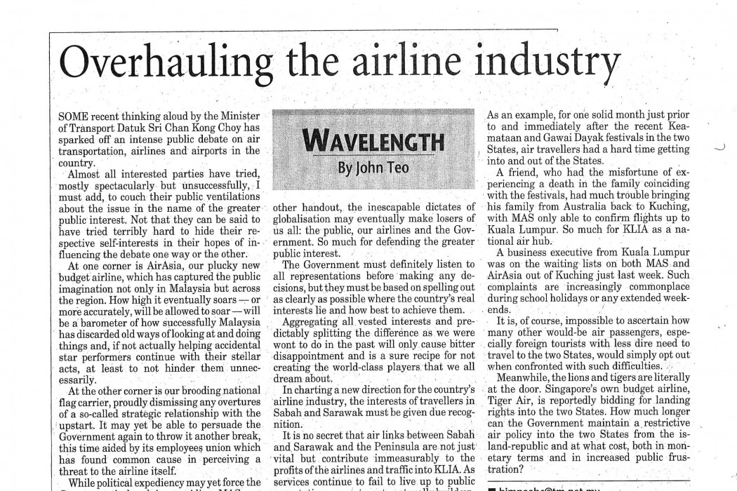 Overhauling the airline industry