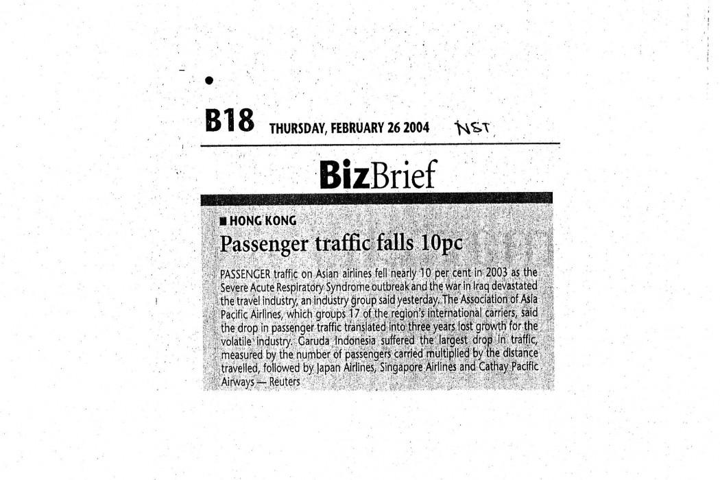 Passenger traffic falls 10pc