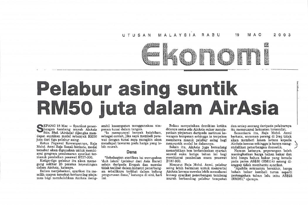 Pelabur asing suntik RM50 juta dalam airasia