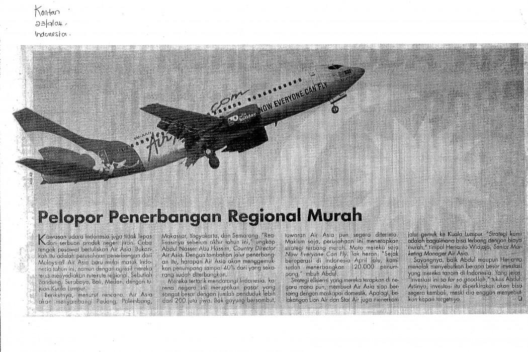 Pelopor Penerbangan Regional Murah