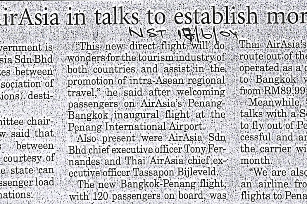 Penang, airasia in talks to establish more routes