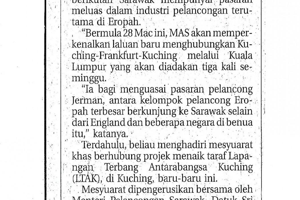 Penerbangan antarabangsa ke Sarawak akan ditambah