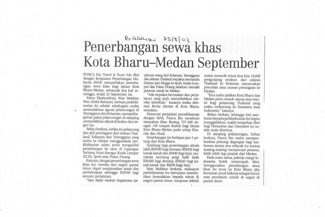 Penerbangan sewa khas Kota Bahru-Medan September