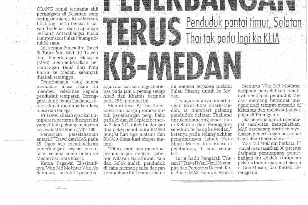 Penerbangan terus KB-Medan