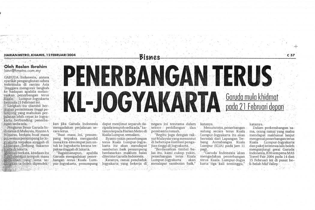 Penerbangan terus KL-Jogyakarta