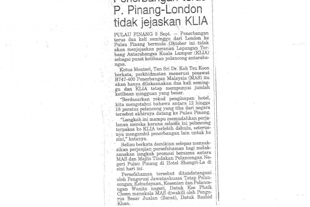 Penerbangan terus P.Pinang-London tidak jejaskan KLIA