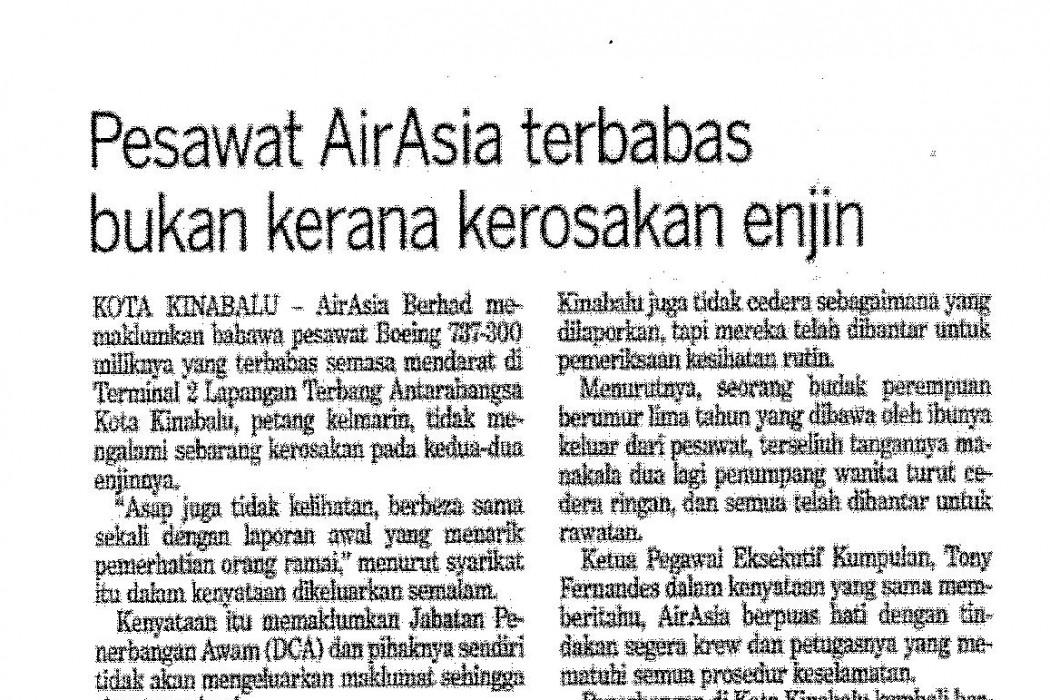Pesawat airasia terbabas bukan kerana kerosakan enjin