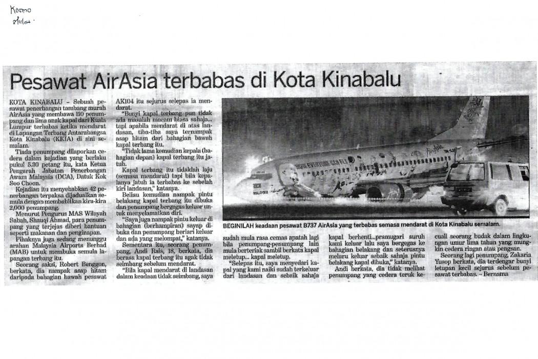 Pesawat airasia terbabas di Kota Kinabalu