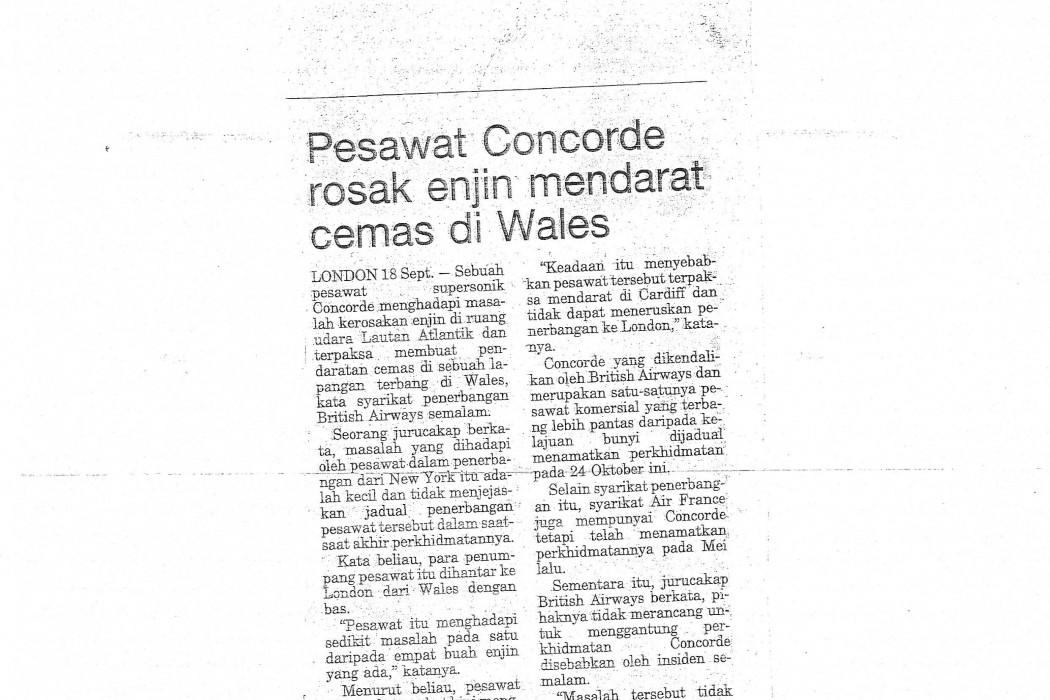 Pesawat Concorde rosak enjin mendarat cemas di Wales