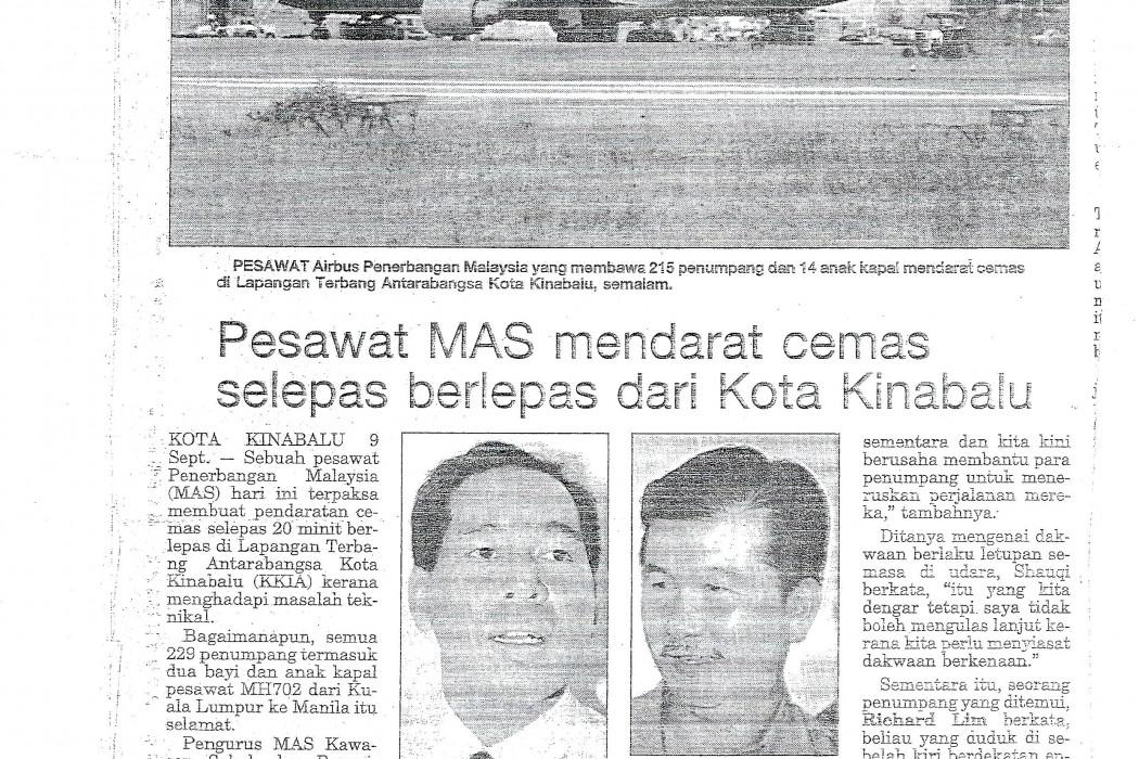 Pesawat MAS mendarat cemas selepas berlepas dari Kota Kinabalu