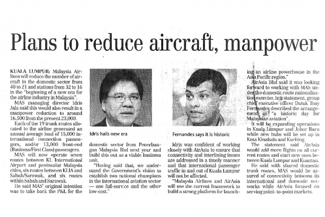 Plans to reduce aircraft, manpower