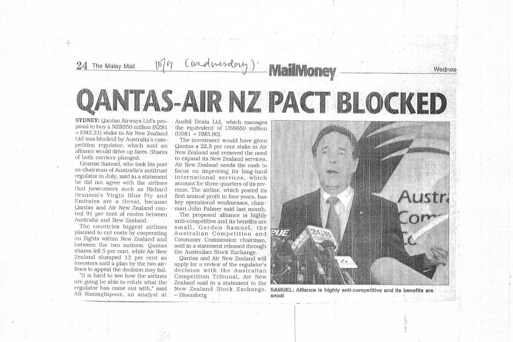 Qantas-Air NZ Pact Blocked