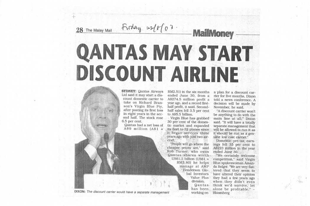 Qantas May Start Discount Airline