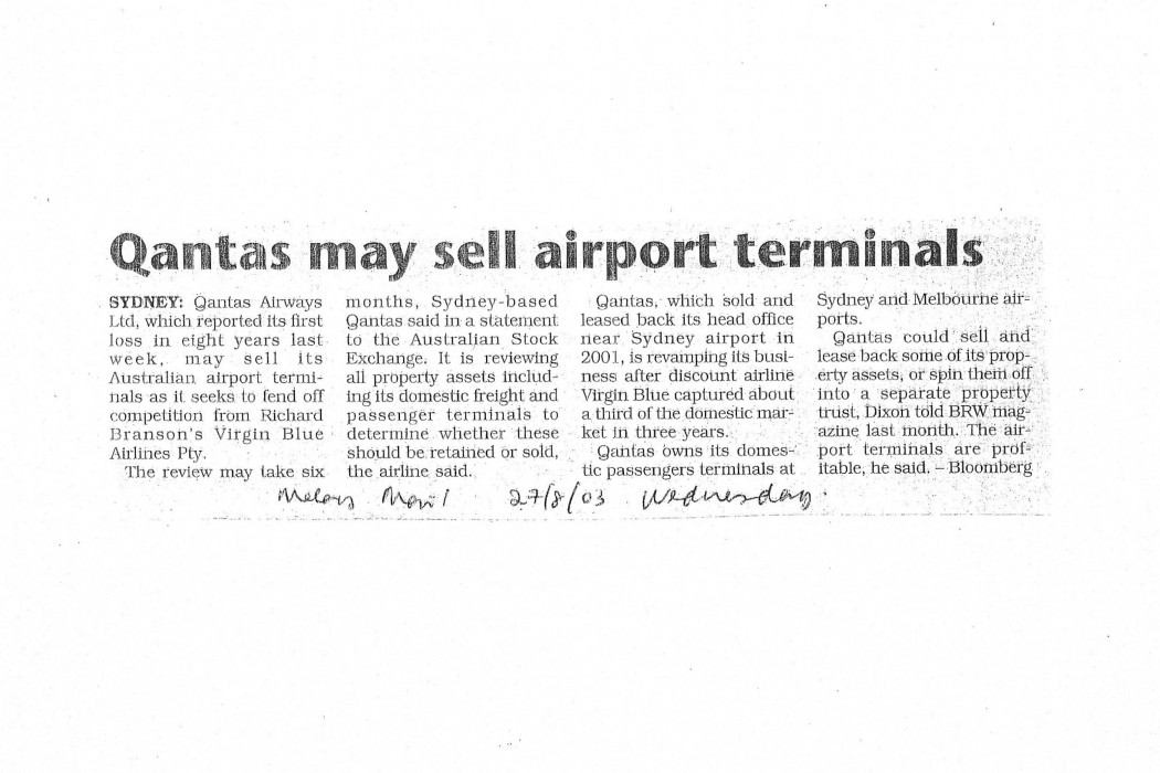 Qantas may sell airport terminals