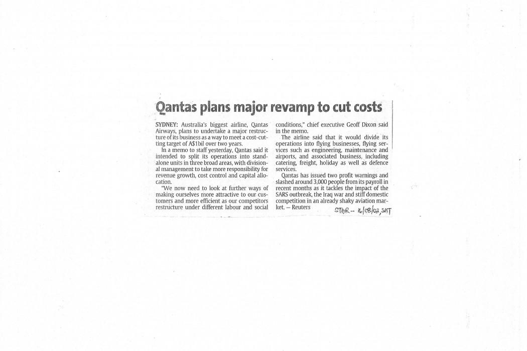 Qantas plans major revamp to cut costs
