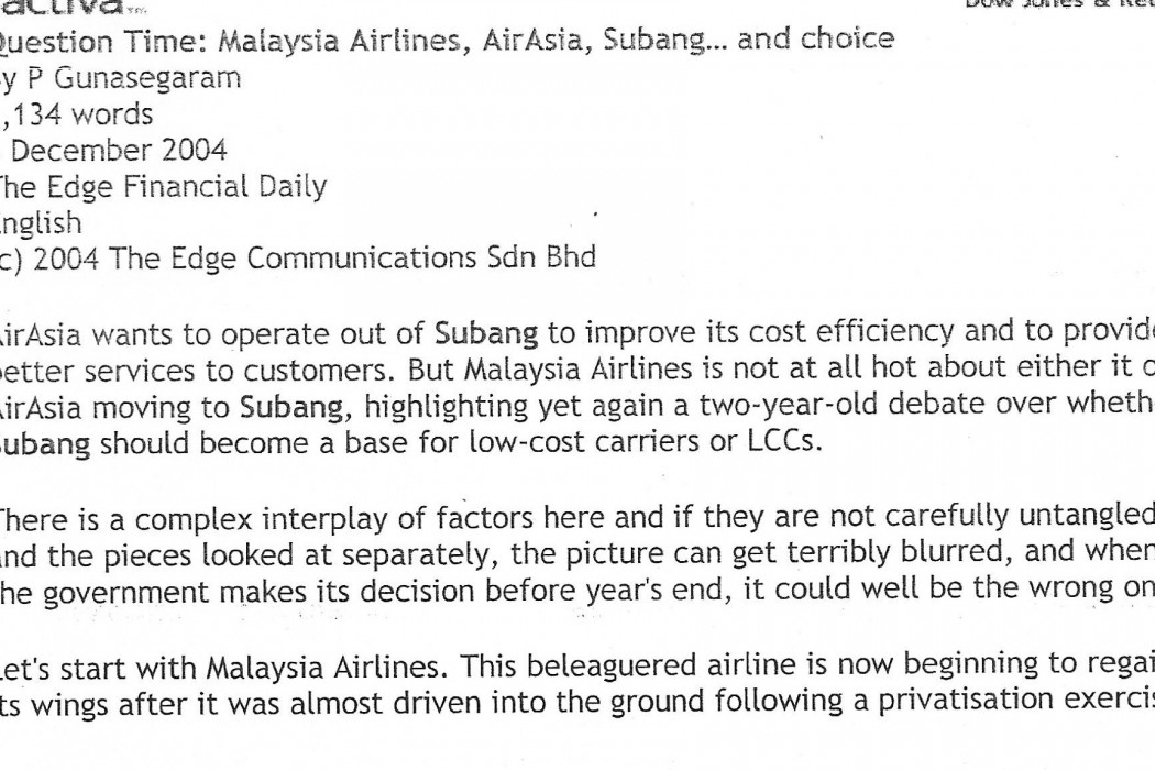 Question Time Malaysia Airlines, airasia, Subang... and choice - 01