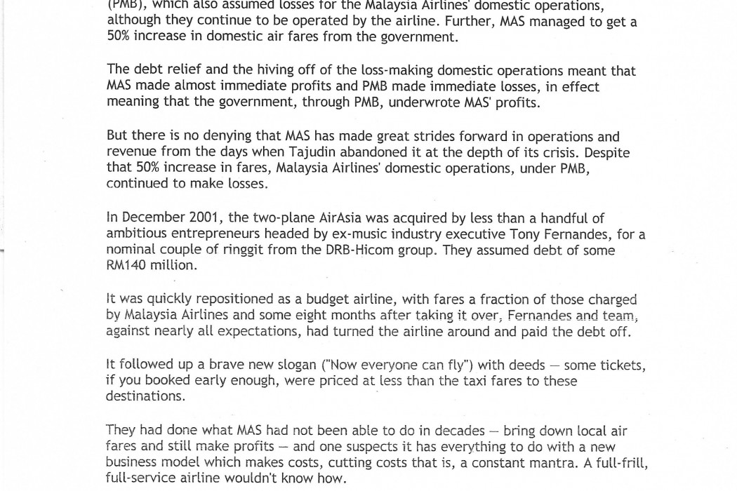 Question Time Malaysia Airlines, airasia, Subang... and choice - 02