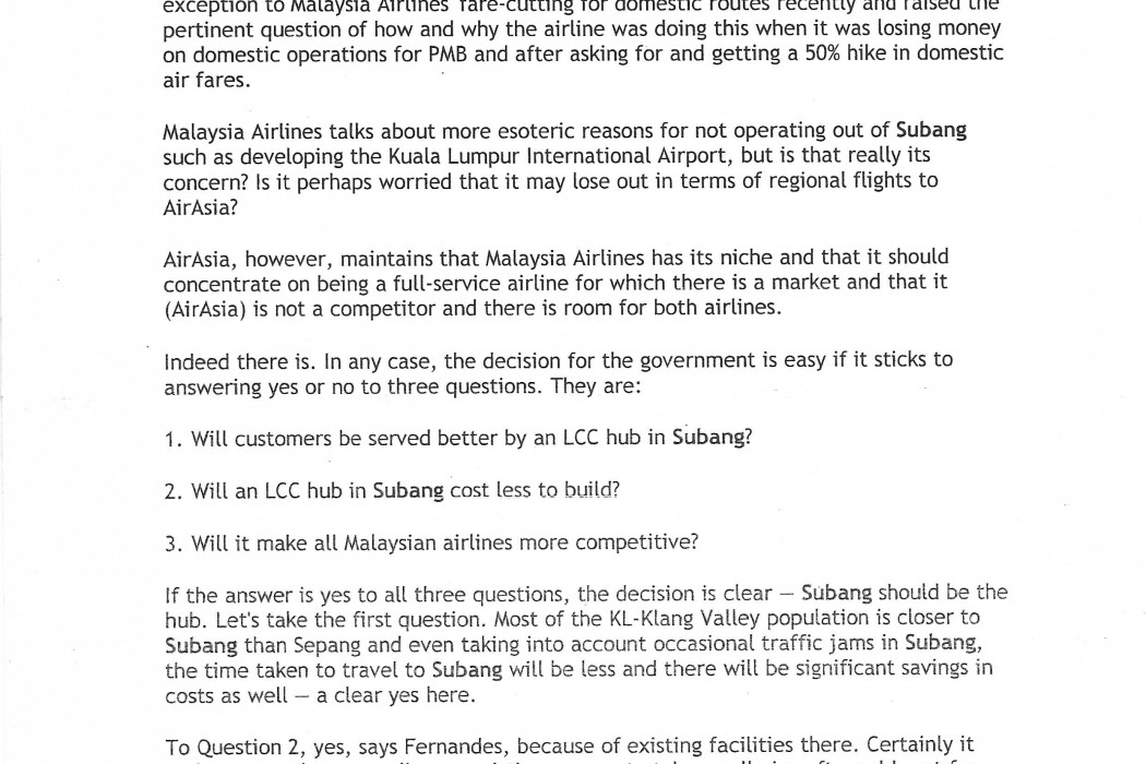 Question Time Malaysia Airlines, airasia, Subang... and choice - 03
