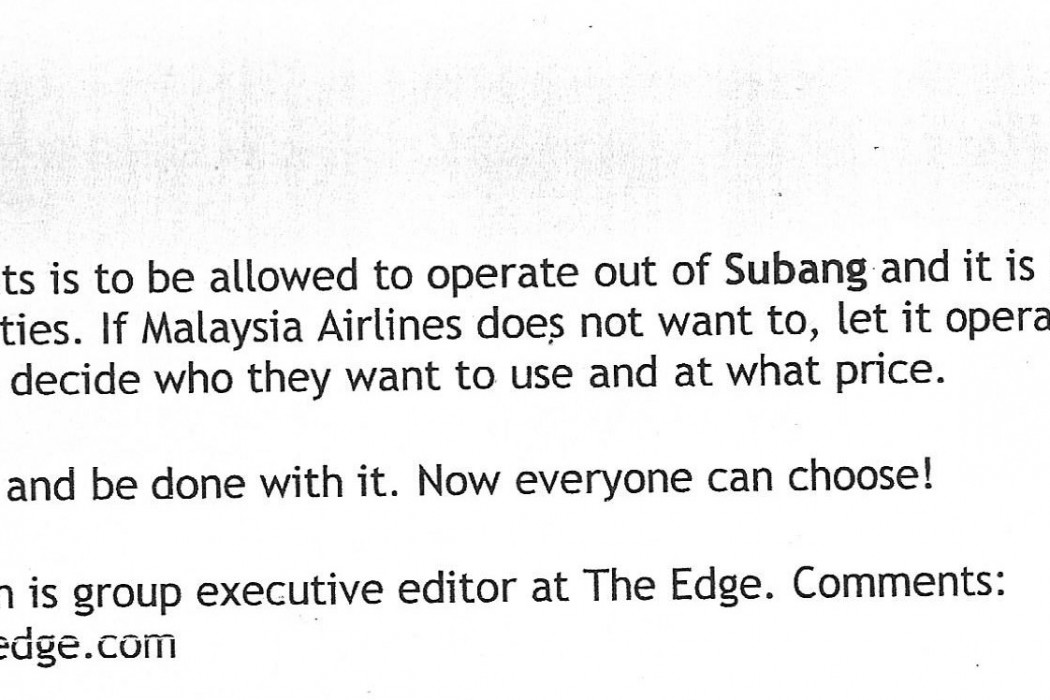 Question Time Malaysia Airlines, airasia, Subang... and choice - 04