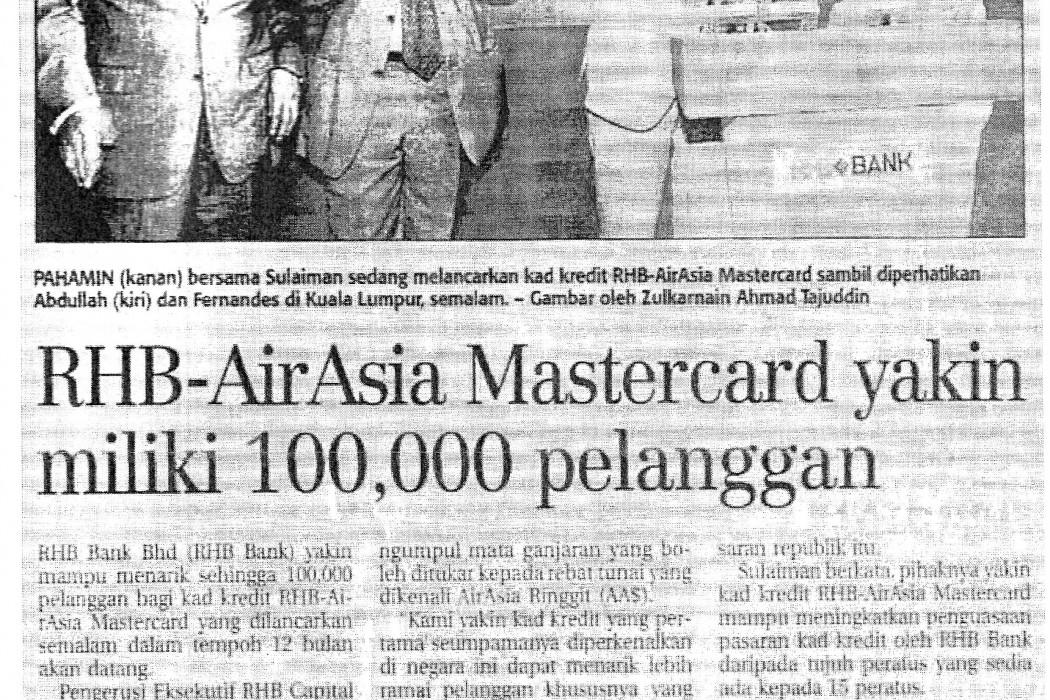 RHB-airasia Mastercard yakin miliki 100,000 pelanggan