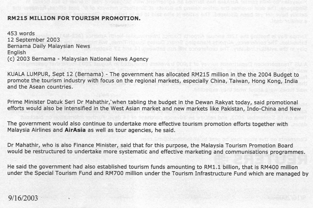 RM215 Million for Tourism Promotion (1)