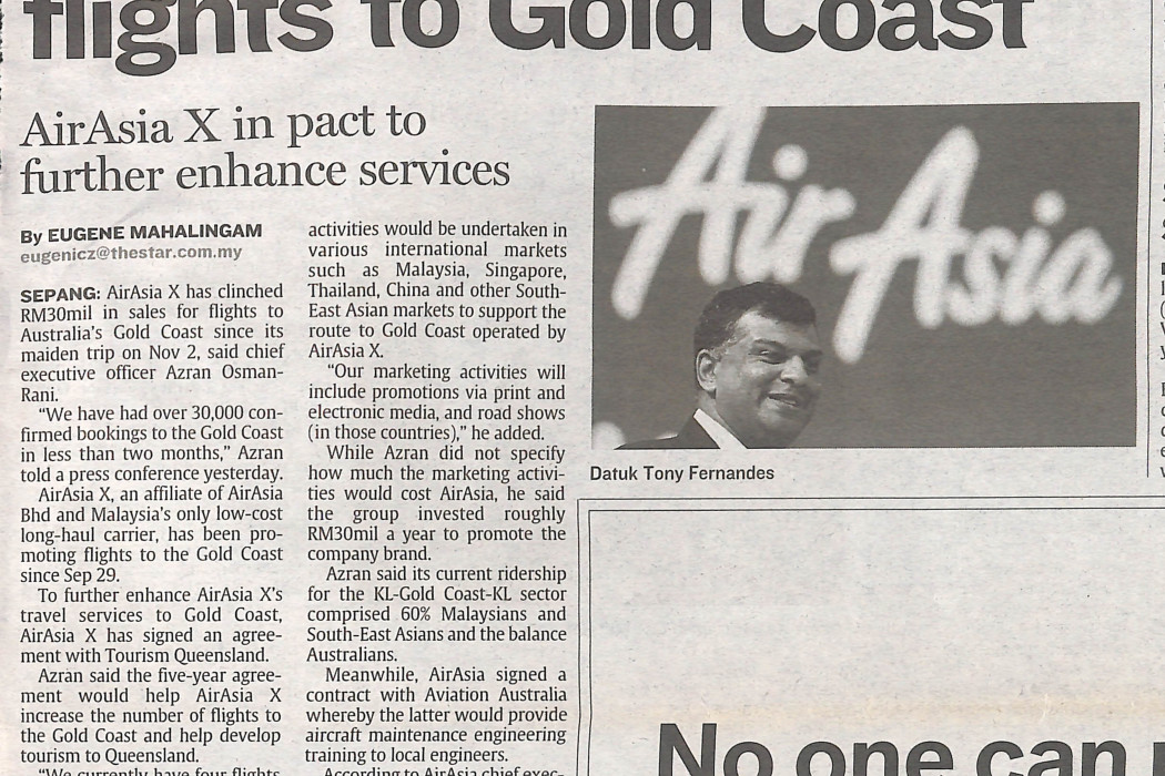 RM30mil sales for flights to Gold Coast