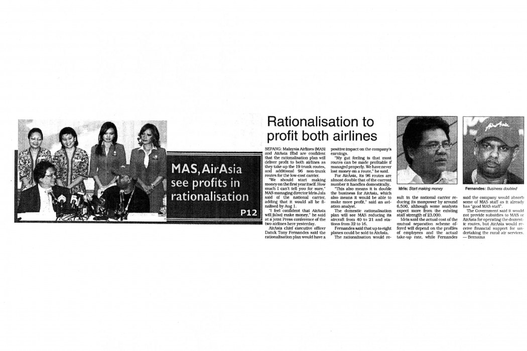 Rationalisation to profit both airlines
