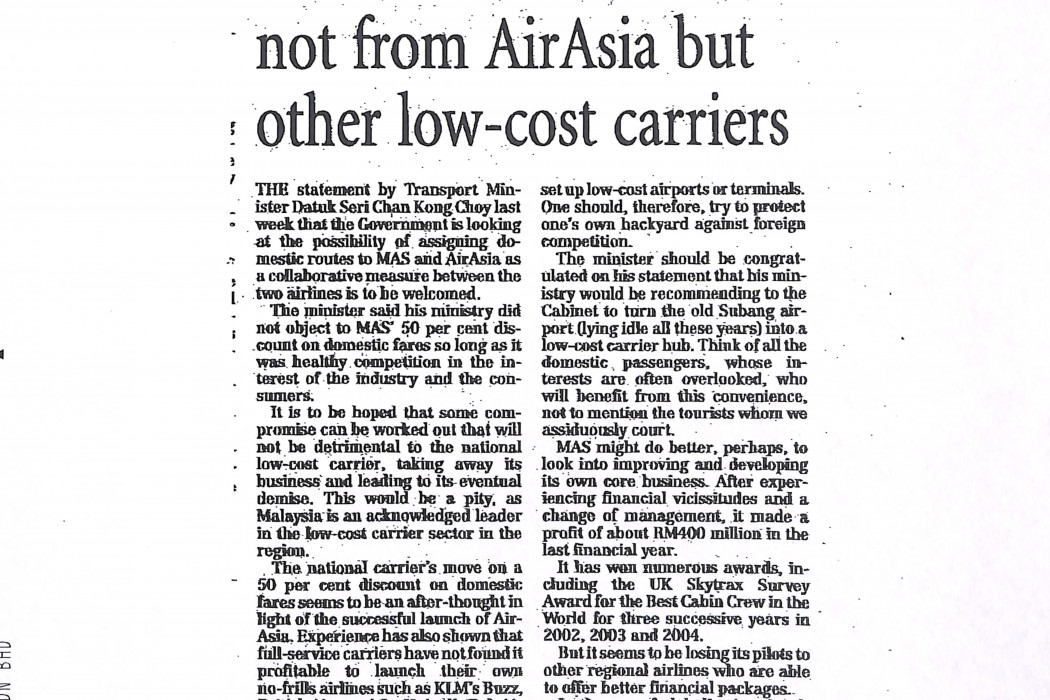 Real threat to MAS not from airasia but other low-cost carriers (1)