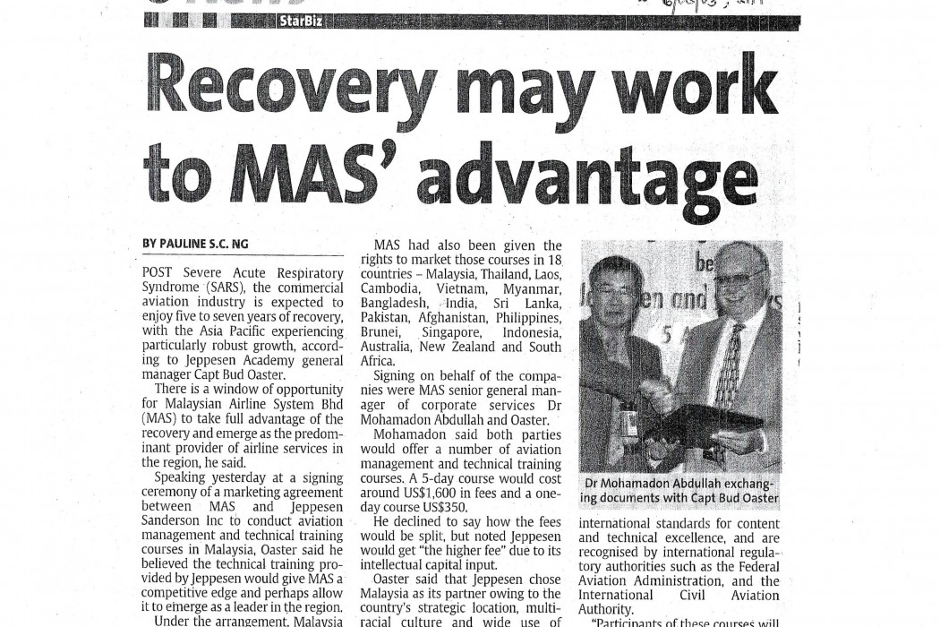 Recovery may work to MAS' advantage
