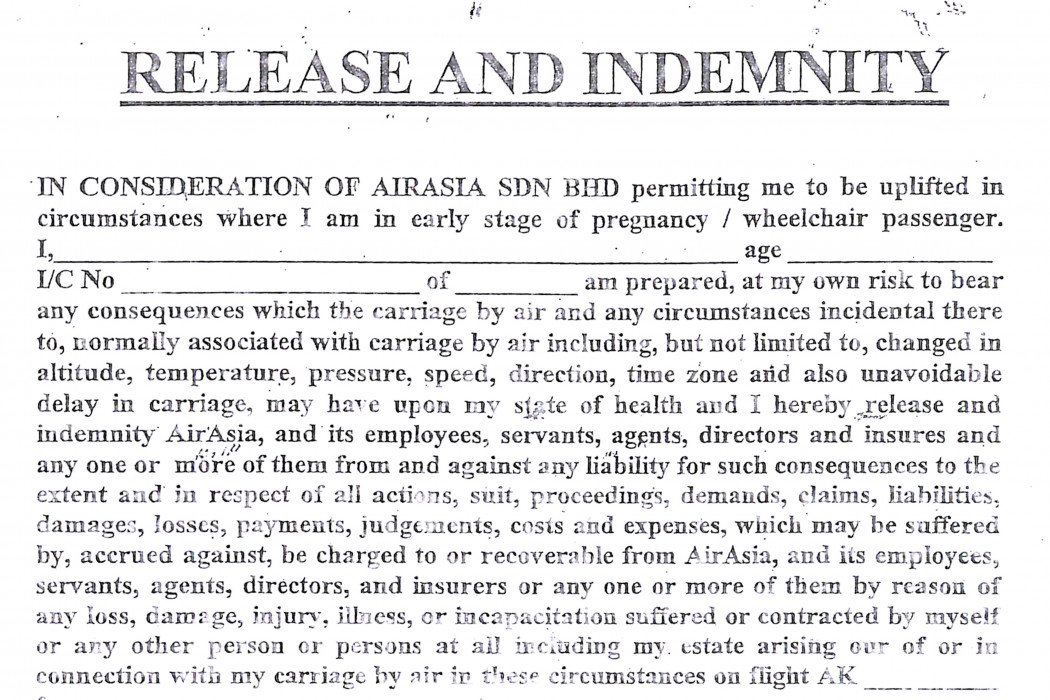 Release And Indemnity Form