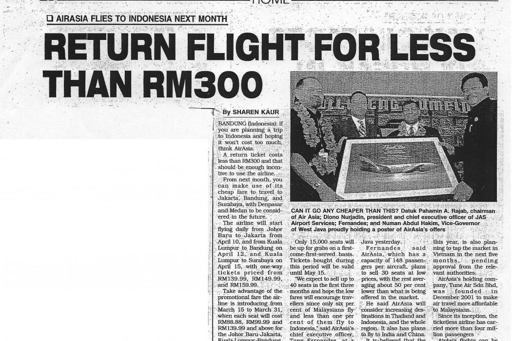 Return Flight for Less than RM300